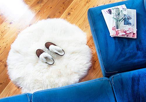 Runder Teppich aus natürlichem Schaffell. Fellteppich Natur (Weiss, Durchmesser 120-250cm). Öko Schaffell.