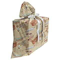 "SIZE - 27"" wide x 32"" long. 1 large gift bag + 3 ribbon set for gift wrapping. Reusable and durable. MADE FROM - Lightweight & soft, brushed microfiber fabric. Machine washable, no fading. Easy to use. FEATURES - Comes with 3 different color ribbons:..."