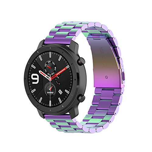 Yikamosi Compatible with Amazfit GTR 47mm Band, 22mm Stainless Steel Metal Quick Fit Replacement Smart Watch Bracelet Strap Bands for Amazfit GTR 47mm Smartwatch(Colorful)