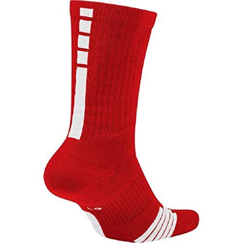 NIKE Elite Basketball Crew Socks (University Red/White, Large)