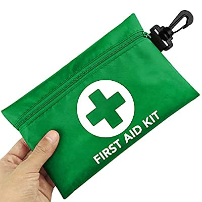 Risen Mini First Aid Kit, 100 Pieces Compact Waterproof Small Medical Emergency Survival Kit, Perfect for Car, Travel, Home, Vehicle, Camping, Workplace & Outdoor Green from Risen
