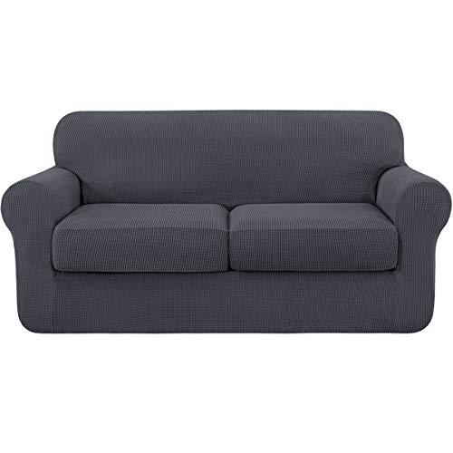 Subrtex - Funda de sofá extensible con funda de cojín de asiento, protector de sofá con reposabrazos elásticos, gris, 2 plazas