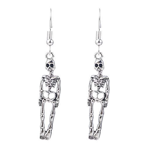Pendientes colgantes de calavera de esqueleto vintage de Halloween para mujer