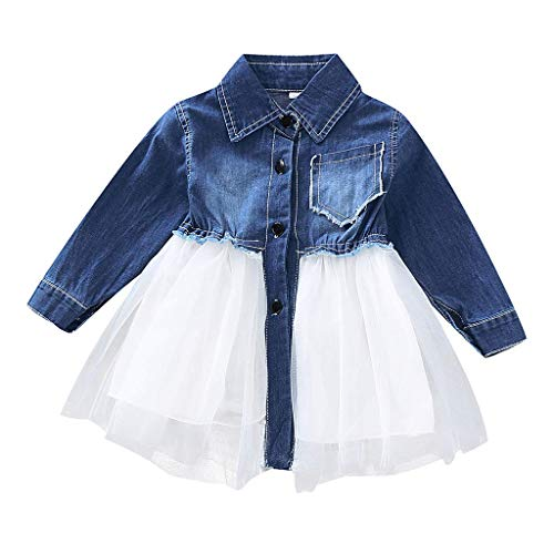 Hulday Baby Mädchen Sommerkleid Mode Prinzessin Kleid Jeanskleid Süß Kurzes Kleid Kinder Mode Living Denim Tutu Tüll Kleider Outfits Langärmelige Einfarbige Nähte Kleid Freizeitkleidung