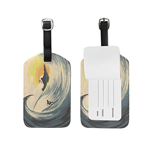Tropical Island Wave Surfer at Sunset Luggage Tags Suitcases Baggage Bags Adjustable Strap Leather Luggage Tag for ID Labels Set for Travel