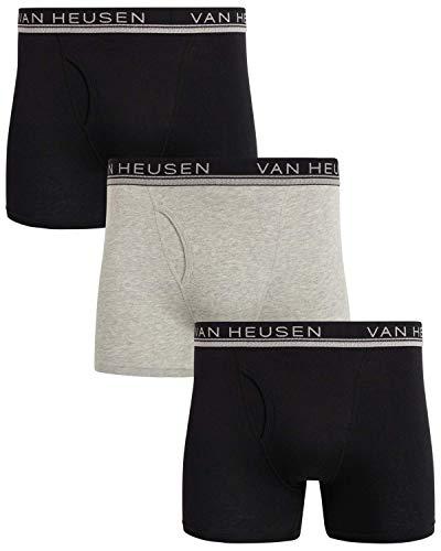 Van Heusen Men's Cotton Boxer Briefs Underwear (3 Pack) (Black/Grey/Black, Medium)'