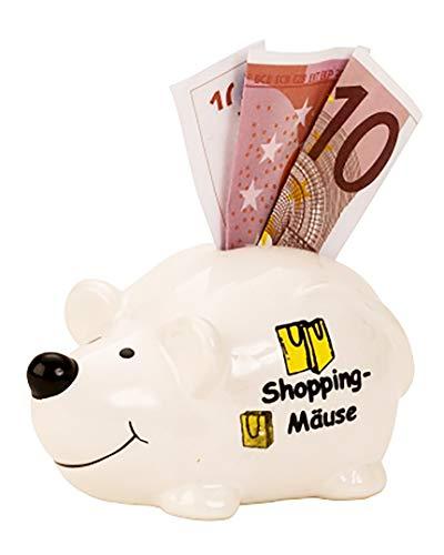 KAMACA Spardose aus Keramik SHOPPING - MÄUSE Sparbüchse Sparschwein für Geldgeschenke Maus Happy Birthday (Shopping - Maus)