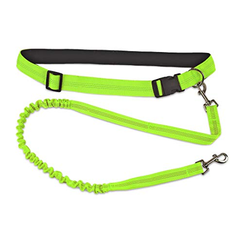 Furhaven Pet Dog Leash - Trail Pup Hands-Free Walking and Running Outdoor Activity Waist Belt Stretchy Bungee Pet Leash for Dogs and Cats, Neon Green, One Size