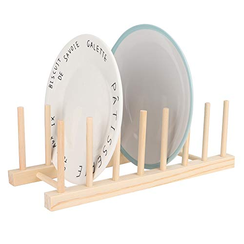 7 rejilla Escurridor de fregadero seco Soporte de plato de madera Estante de placa Estantes Utensilios de cocina Tabla de drenaje Escurridor de taza Soporte de tazón Porta cubiertos