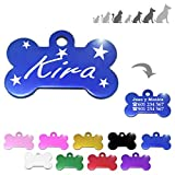 Iberiagifts - Hueso para Mascotas Medianas-Grandes con Estrellas Placa Chapa de identificación Personalizada para Collar Perro Gato Mascota grabada (Azul)