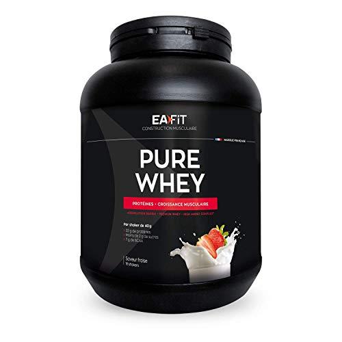 EAFIT Pure Whey - Fresa 750 g - Crecimiento muscular - proteínas tri-fuentes de whey - Asimilación rápida - Contiene aminoácidos y enzimas digestivas - Complejo HIGH AMINO