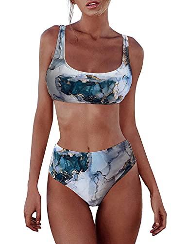 TOPLAZA Bikini Mujer Tie-Dry Top sin Aros con Relleno Braga Talle Alto