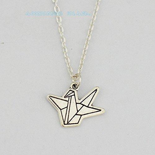 El día de la madre, hand-folded plata collar de Origami Crane, grúa de papel Origami joyas, joyas, Lucky Charm, Origami collar, regalo para el día de la madre