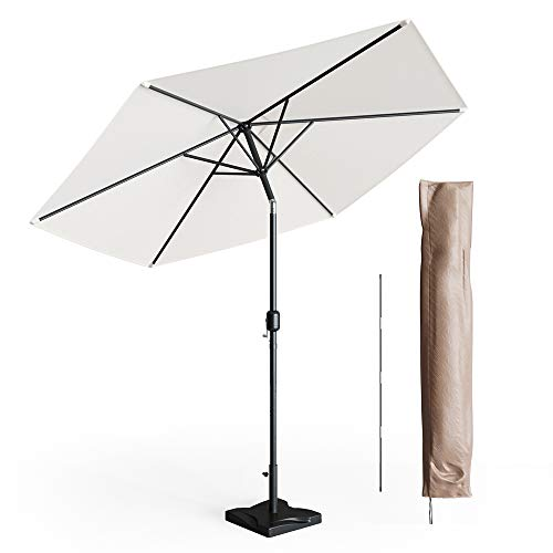 Oskar Sonnenschirm Set 270cm inkl Schutzhülle + Ständer Gartenschirm Marktschirm beige