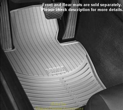 BMW Genuine Rubber Mat Gray Front E46 Convertible Only