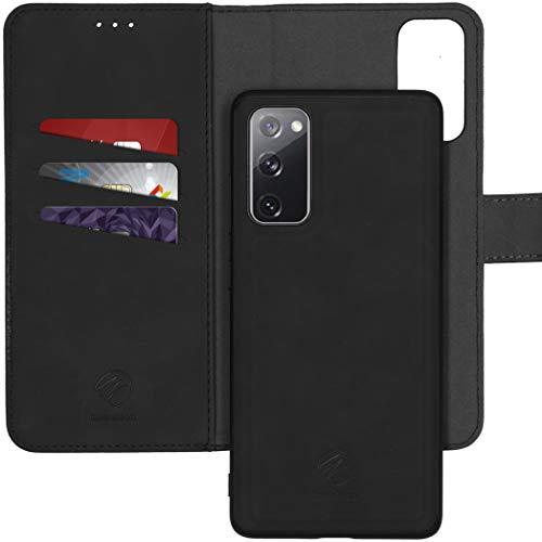 iMoshion kompatibel mit Samsung Galaxy S20 FE Hülle – 2-in-1 Luxus Klapphülle – Handyhülle mit herausnehmbarem Back Cover in Schwarz [Platz für 3 Karten, Magnetverschluss]
