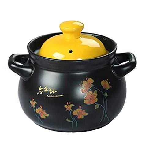 N\C Olla de Barro Cazuela de cerámica, Olla para Sopa con Tapa y asa Sartén para estofado Utensilios de Cocina saludables para estofar Bibimbap Cocción Lenta Negro A 3.17Quart