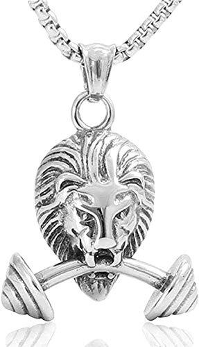 Yiffshunl Collar Vintage clásico Colgante Collar de Acero Inoxidable León Dbbell Colgante de Acero joyería Fiesta Pareja Regalo
