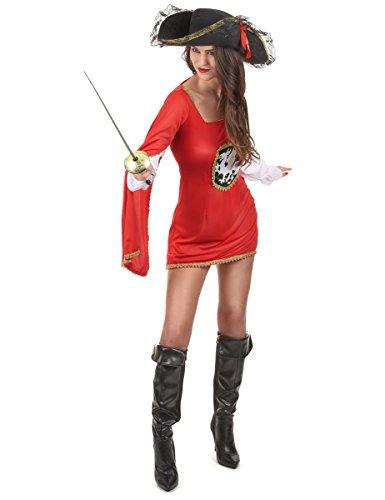 Generique - Musketier-Kostüm rot für Damen M