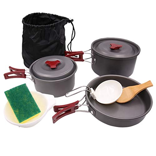 SurviveDis AL-300 Camping Cookware/Mess Kit/Backpacking, Hiking, Outdoors, Bug Out Bag Gear/Cooking Equipment 11 Piece Set: Lightweight, Compact, Durable Pot Pan Bowls