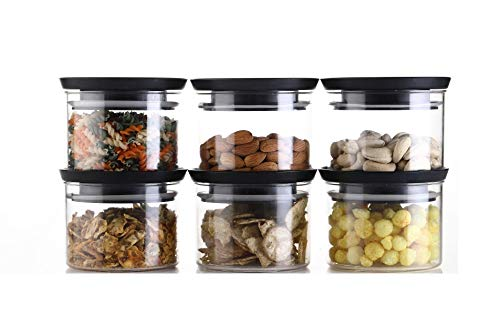 Machak Xcllent Containers Set for Kitchen Airtight, Unbreakable Black (Set of 6, 500ml)