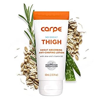 Carpe No Sweat Thigh - Helps Keep Your Thighs Dry and Chafe Free - Sweat Absorbing Lotion - Helps Control Sticky Thigh Sweat - With Witch Hazel and Vitamin B3