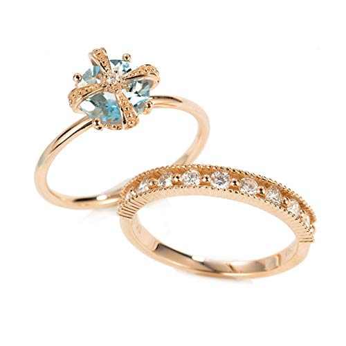Aeici Anillos Oro rosa 18k, Anillos De Matrimonio De Oro Aguamarina Diamante 1ct, Redonda, Talla 17