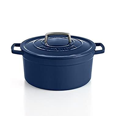 Martha Stewart Collection, Collector's Enameled Cast Iron 6 Quart Round Casserole, BLUEBERRY