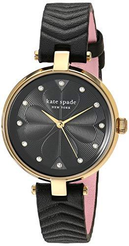 Kate Spade New York Annadale - Analoge Damen-Armbanduhr mit DREI Zeigern und schwarzem gestepptem Lederarmband - KSW1546