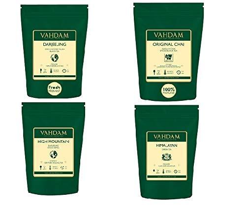 VAHADM, Loose Leaf Tea Variety Pack | 4 Teas, 14 oz | India's Original Masala Chai Tea, Himalayan Green Tea, High Mountain Oolong Tea, Darjeeling Premium Black Tea | Best of Loose Leaf Teas