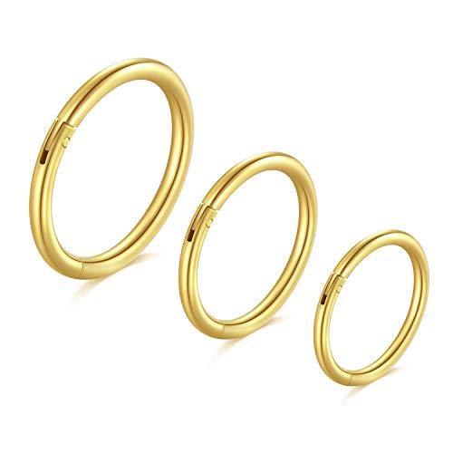 Longita 18G Helix Piercings Chirurgenstahl Damen Herren Septum Piercing Hinged Clicker Segmentring Nasenpiercing Lippenpiercing Tragus Knorpel Ohr Piercing 3 Stück-Gold