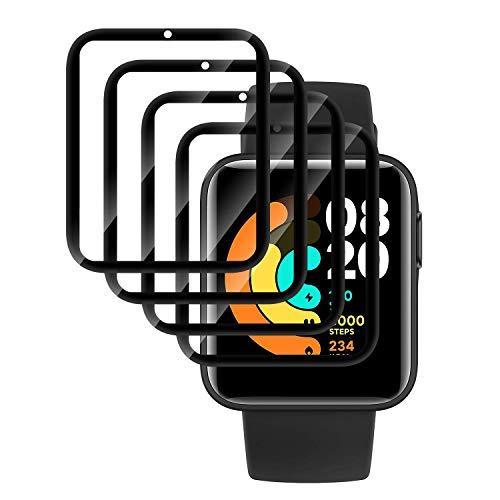 QULLOO Pellicola Protettiva per Xiaomi Mi Watch Lite,[4 Pezzi] Soft HD Clear TPU Screen Protector Film Bubble-Free Protezione Schermo per Xiaomi Mi Watch Lite - Trasparente