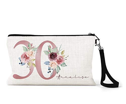 Trousse de maquillage personnalisée en lin crème pour 30e anniversaire Motif floral Rose/bleu