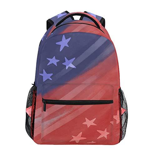 DXG1, Zaino con Bandiera Americana, Rosso e Blu, per Donne e Uomini, Ragazzi e Ragazze, Ideale per la Scuola