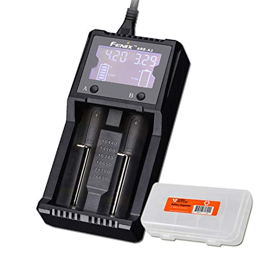 Fenix are-A2 Dual Channel Battery Smart Charger for Popular Rechargeable Batteries with LumenTac Battery Organizer