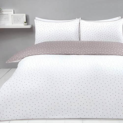 Sleepdown 5056242753278 Set Copripiumino Reversibile con federe, per Letto Singolo, 135 x 200 cm, Colore: Bianco Visone, Misto Cotone