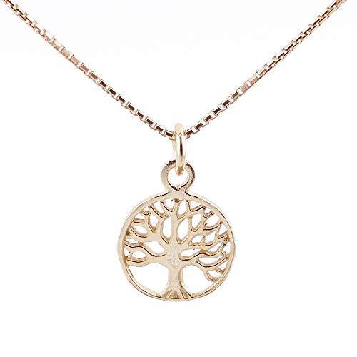 ARITZI - Collar Delicado de Plata de Ley 925 con Colgante de árbol de la Vida en Color Oro - Incluye Cadena Box Chain de 40 cm en Plata - 14 mm