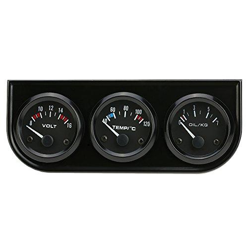 KKmoon 52mm Elektronisches Dreifach-Messgerät Kit Öl Druck Temperatur Messgerät Voltmeter 3 in 1 Auto Motorrad Wasserzähler