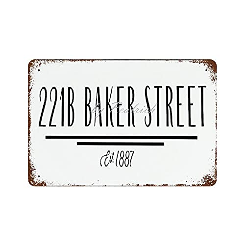 Scott397House Metal Tin Signs, 221B Baker Street Vintage Wall Plaque Man Cave Poster Decorative Sign Home Decor for Indoor Outdoor 8x12 Inch