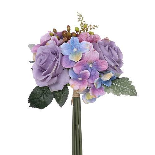 FS - Ramo de Rosas y hortensias Artificiales (28 cm), Color Azul, Rosa y Lila