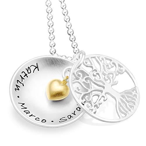 Lebensbaum Kette TREE OF LOVE Heart 925 Silber Namenskette Familienkette mit Gravur