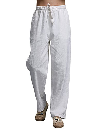 Mens Linen Pants Beach Casual Loose Fit Work Elastic Waist Drawstring Golf Cargo Trousers with Pockets White
