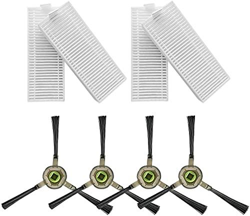 Filtro Hepa e Spazzola Laterale di ricambio per aspirapolvere OKP K2/K3, accessorio per aspirapolvere robot OKP, 8 pezzi (4 filtri HEPA+4 spazzola laterale)