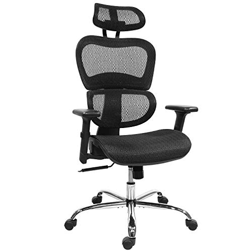 Ergonomic Office Chair, Mesh Chair Computer Chair Desk Chair High Back Chair with 3D Adjustable Headrest and Armrests for Home Office, Conference Room, Reception Room, Gaming Room