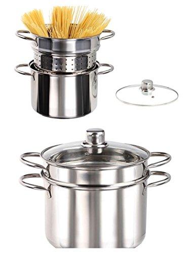 Pentola per spaghetti in acciaio inox con colino, set da 3 pezzi, per cottura a induzione, con inserto per la pasta (pentola per asparagi, 6 litri, coperchio in vetro, colino per la pasta).