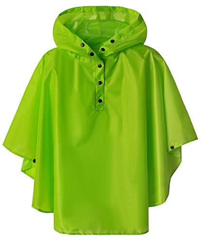 Kids Waterproof Rain Poncho Cape for Boys Green Medium