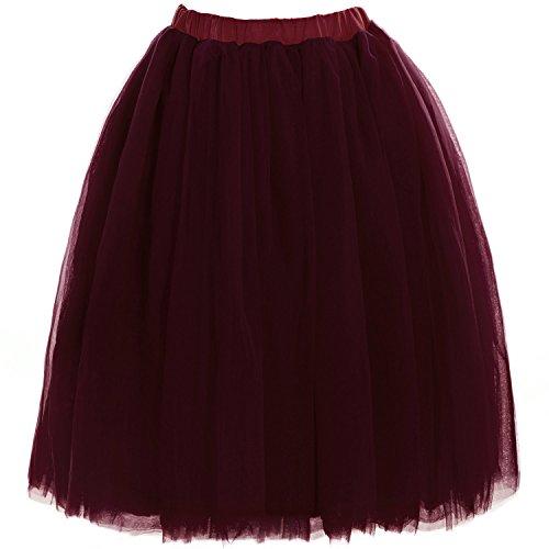 Babyonline Damen Tüllrock 5 Lage Prinzessin Kleider Knielang Petticoat Ballettrock Unterrock Pettiskirt Swing Einheitsgröße