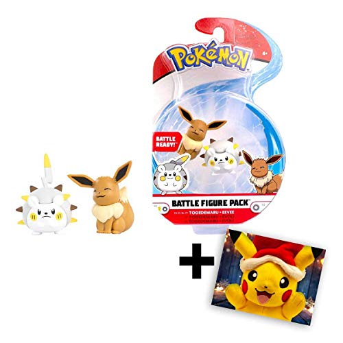 Lively Moments Pokemon Battle Pack Togedemaru vs Evoli Spielfiguren / Sammelfiguren Spielzeug / Erweiterung + GRATIS Grußkarte