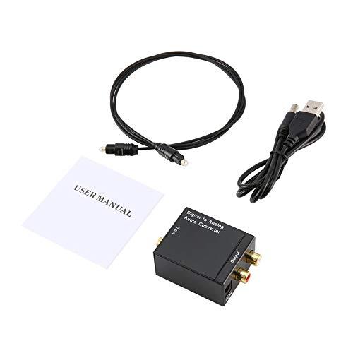 Ygerbkct Adaptador convertidor de señal Toslink coaxial óptico Digital a Audio analógico RCA Convertidor de Audio Digital a analógico Negro