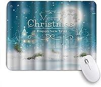 NIESIKKLAマウスパッド メリークリスマス&新年あけましておめでとうございますクリスマスの夜の風景 ゲーミング オフィス最適 高級感 おしゃれ 防水 耐久性が良い 滑り止めゴム底 ゲーミングなど適用 用ノートブックコンピュータマウスマット